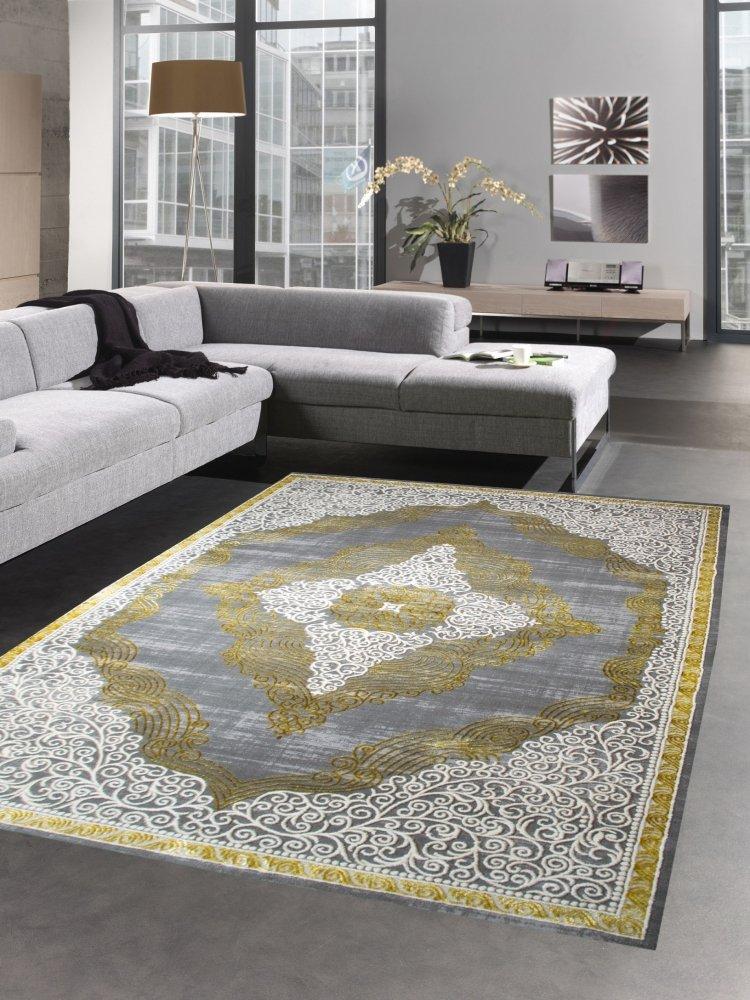 Carpetia Moderner Teppich Kurzflor Wohnzimmerteppich Orient grau Gold Größe 200 x 290 cm
