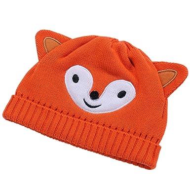 c4f358e43276 OHmais Automne Hiver Bonnet bébé Oreilles Chapeau Animal Renard Orange pour  bébé Fille garçon Size XS