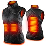 Women's Heated Vest with 3 Heating Levels, 4 Heating Zones,Neck Heating Jacket Washable (Batteries not included)
