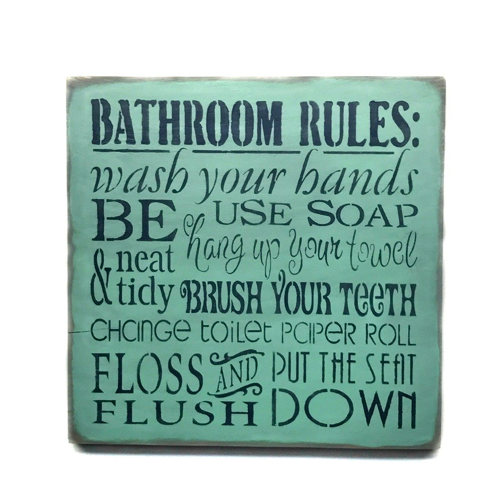 Amazon Com Wooden Sign Bathroom Rules Bathroom Decor