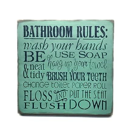 Superb Amazon Com Wooden Sign Bathroom Rules Bathroom Decor Interior Design Ideas Ghosoteloinfo