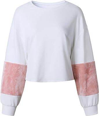 Moda Manga Larga Grueso Calentar Plush Algodón Patchwork Sweatshirt Sudadera Boxy Corta Corto Crop Top: Amazon.es: Ropa y accesorios