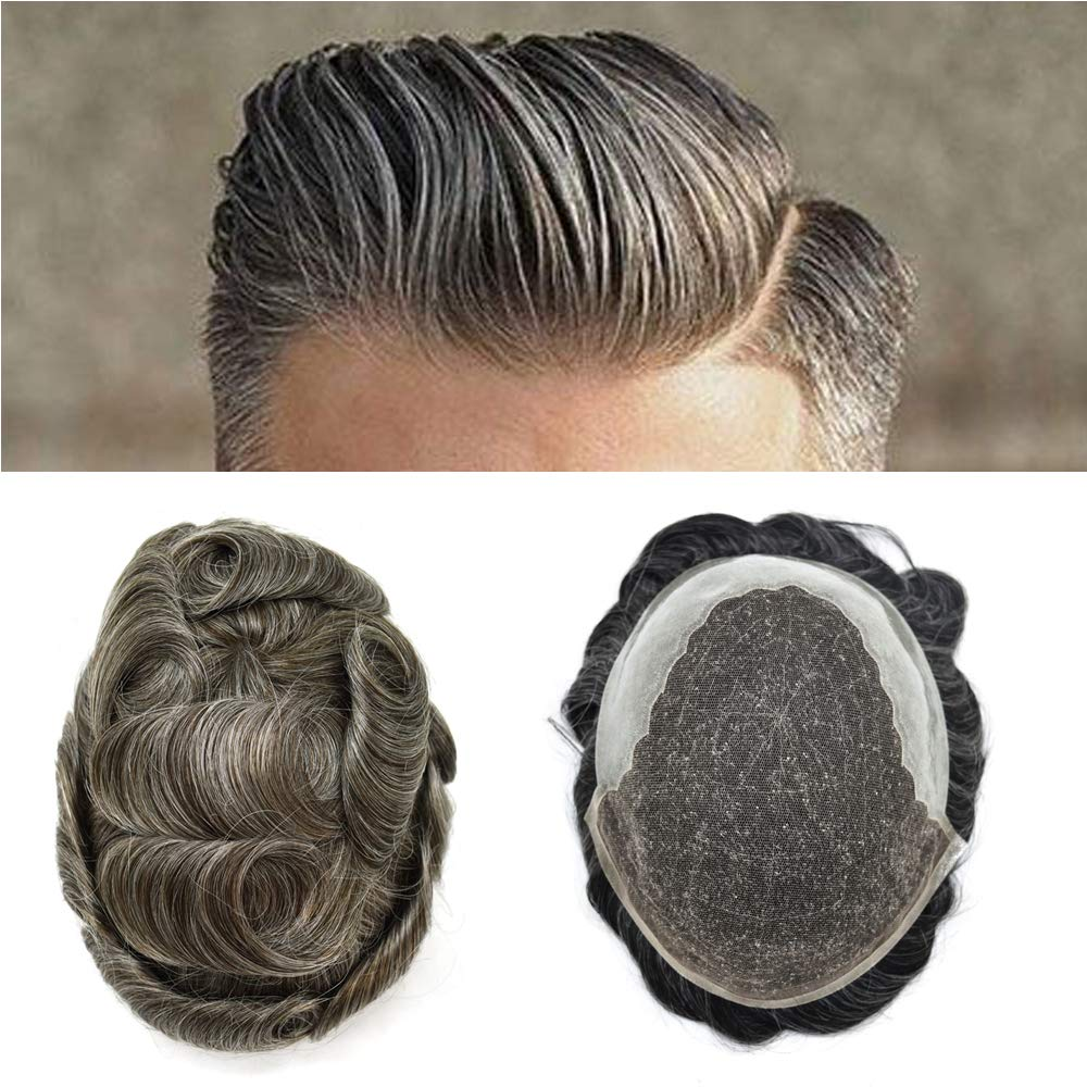 FACE MIRACLE Hair System French Lace Front Mens Toupee Hairpieces Poly Skin PU Natural Hairline Replacement Wig (8