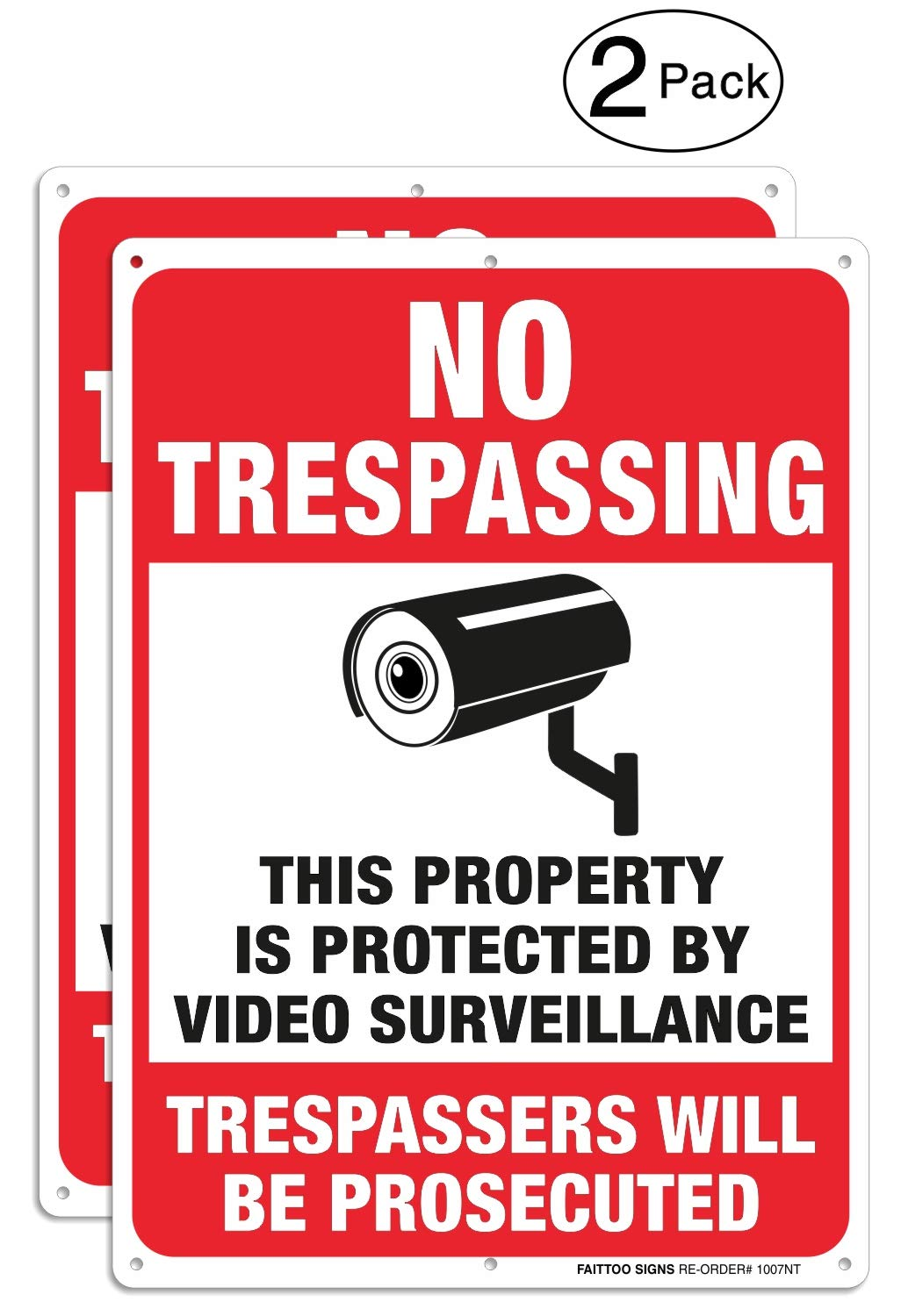 2 Pack Video Surveillance Signs, No Trespassing Violators Will Be Prosecuted Metal Reflective Warning Sign, 10 x 7 Inches 0.40 Aluminum Indoor Or Outdoor Use for Home Business CCTV Security Camera