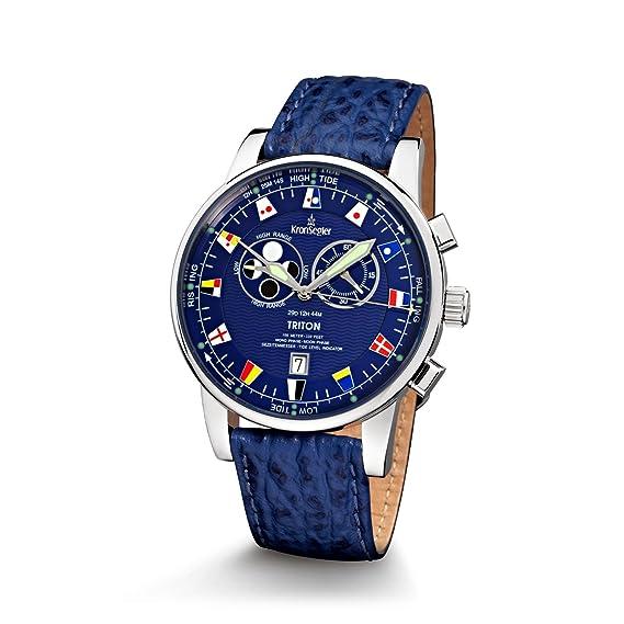 Reloj Triton ángulo horario marea Ruhr reloj de las mareas 2015 Sport acero-azul: Amazon.es: Relojes