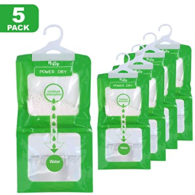 .com - Nifty Essentials Moisture Absorber and Odor Eliminator Hanging Bags to Rid Damp in Closet, Safe, Cars, Wardrobes, Basement, Gym Bag| Humidity Bags for Closet and wardrobes - Pack of 5 (210 GMS Each) - [5Bkhe0816841]