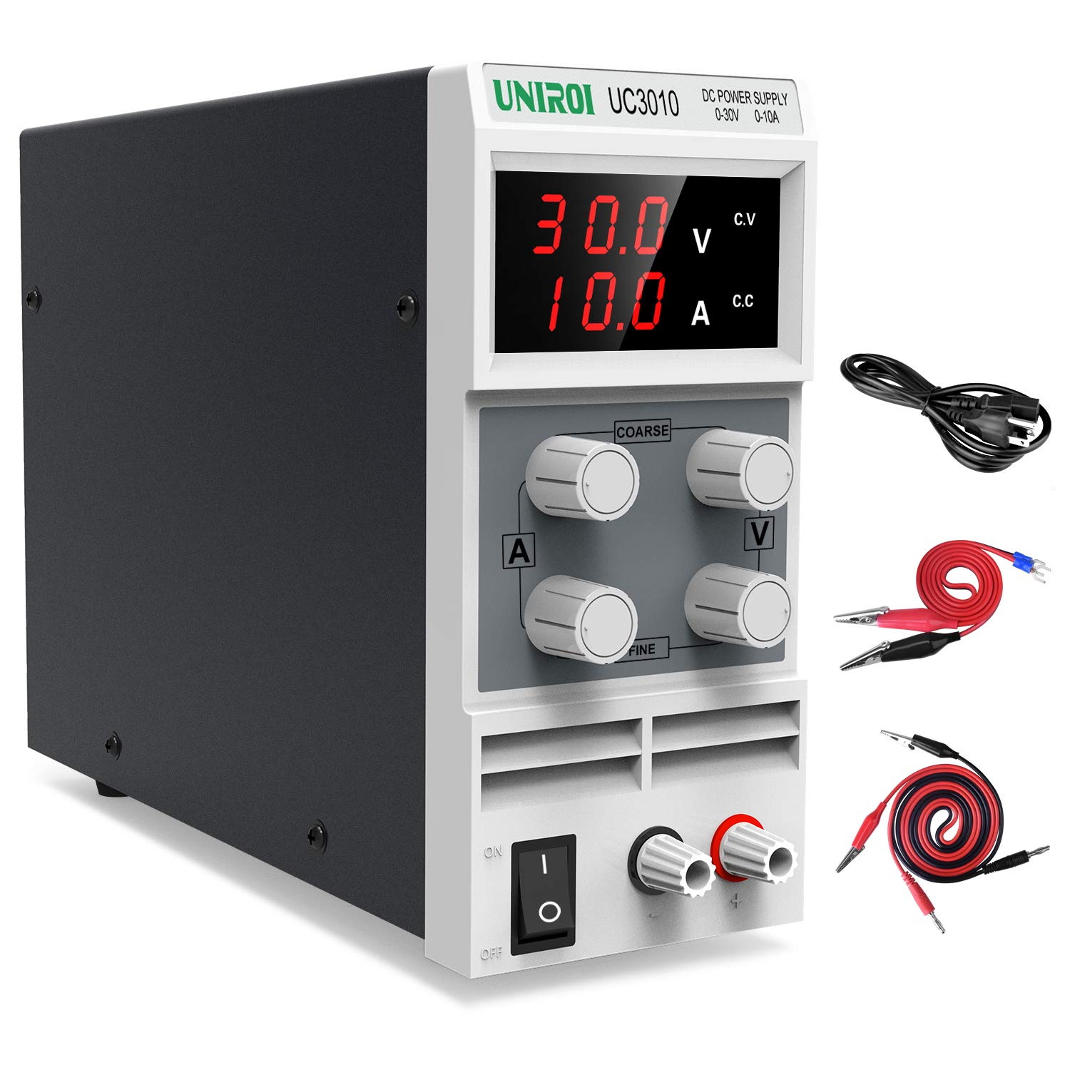 UNIROI DC Power Supply Variable, 0-30V/0-10A DC Bench Power Supply with 3-Digit LED Display, Alligator Clip Leads, Input Power Cord UC3010