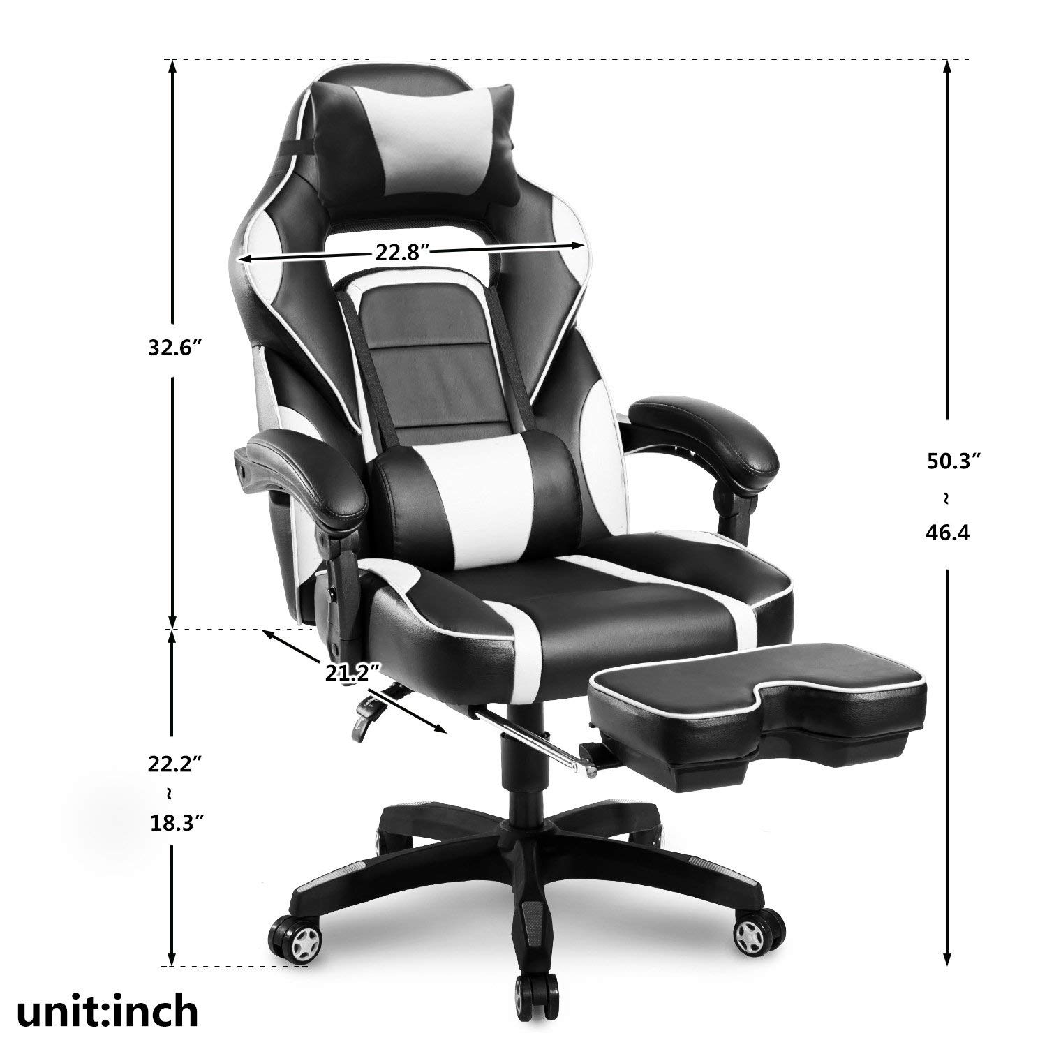 Case of 5, Office Chair,High-Back Racing, Ergonomic Gaming Footrest, PU Leather Swivel Computer Home Office Chair Including Headrest and Lumbar ...