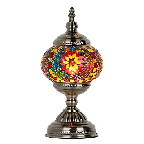 Amazon.com: Marrakech - Lámpara de mesa de cristal marroquí ...