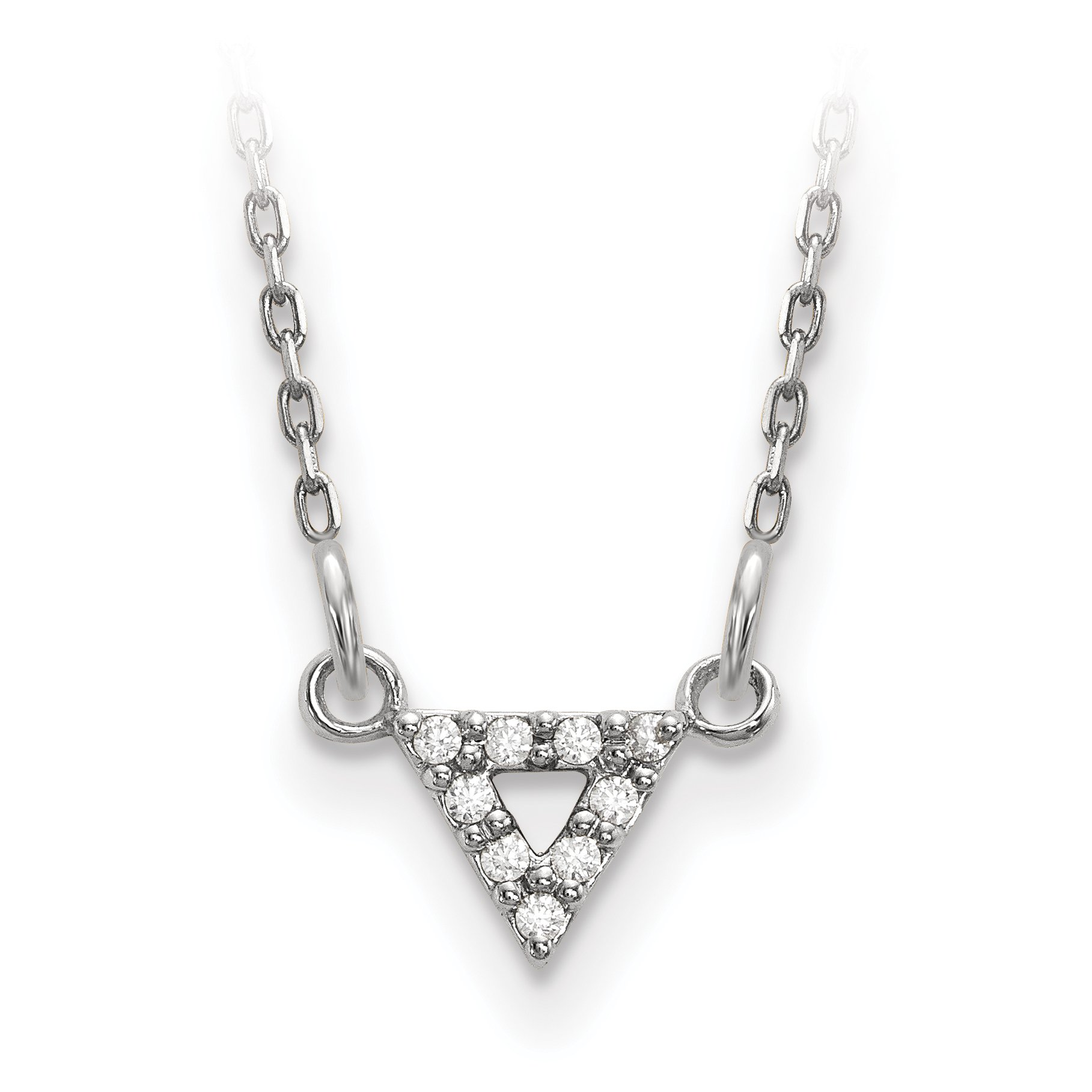 ICE CARATS 14k White Gold Qualiity Diamond 6mm Triangle Chain Necklace Contemporary Fine Jewelry Gift Set For Women Heart
