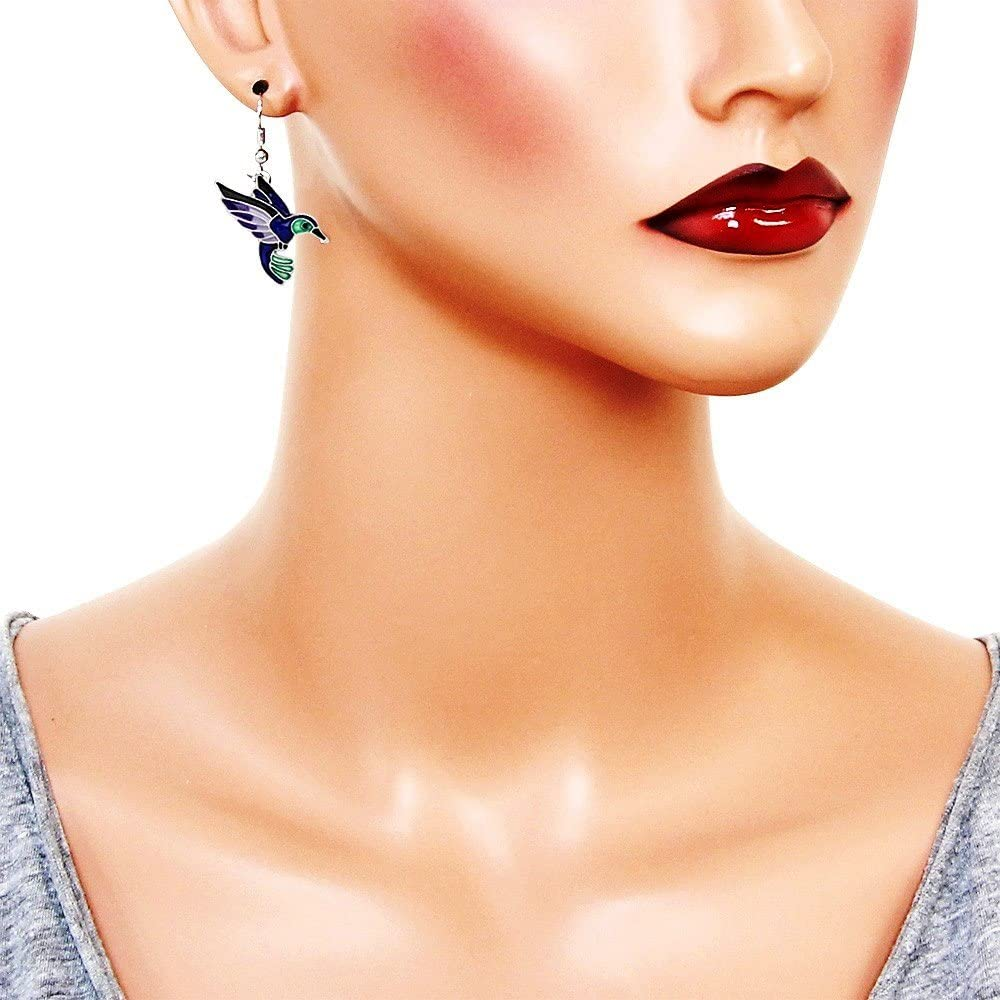 DianaL Boutique Silvertone Enameled Hummingbird Earrings Bird Earring Gift Boxed