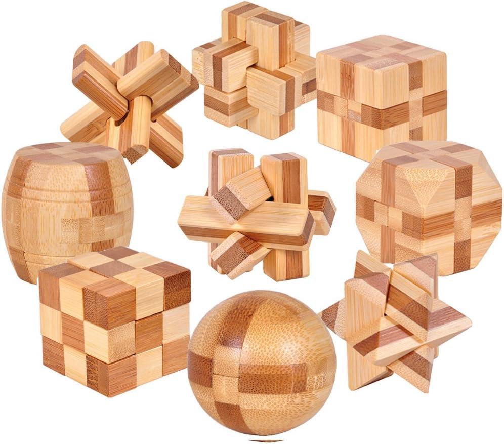 Gracelaza 9 Piezas Juguetes Rompecabezas de Madera Caja Set - IQ Juguete Educativo - 3D Brain Teaser Puzzle de Madera - Juego Niños y Adolescentes