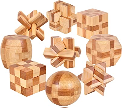Gracelaza 9 Piezas Juguetes Rompecabezas de Madera Caja Set ...
