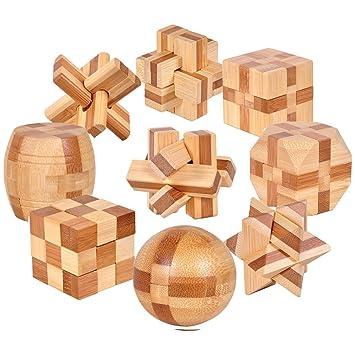 Gracelaza 9 Piezas Juguetes Rompecabezas de Madera Caja Set IQ Juguete Educativo 3D Brain Teaser Puzzle de Madera Juego Ideales y Regalos para