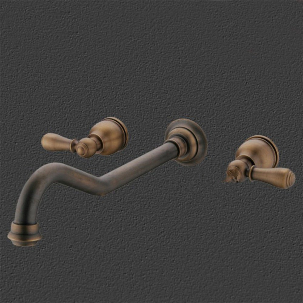 Antique 2 LHbox Basin Mixer Tap Bathroom Sink Faucet The solid brass antique into the wall and cold water faucet flush mount antique wash basinAntique Double Handle faucet, antique 2