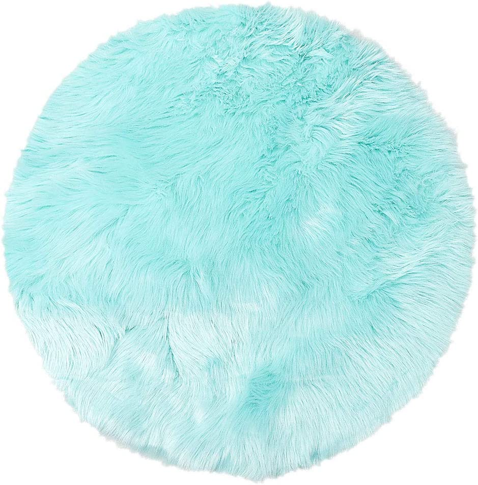 PiccoCasa Faux Sheepskin Area Rug Indoor Soft Fluff Carpet Rugs Round for Bedroom Floor Mat Dormitory Living Room Light Blue 3 Feet