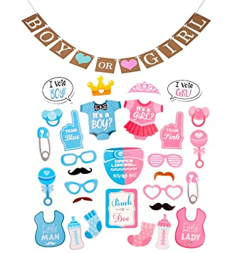 Amazoncom Gender Reveal Boy Or Girl Photo Booth Props And Bunting