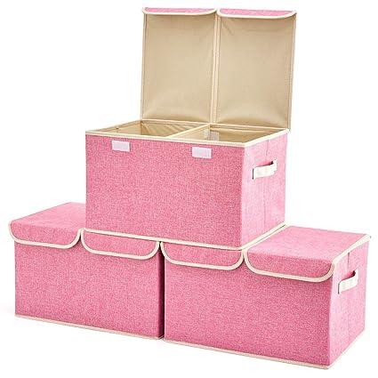 EZOWare Caja de Almacenaje x 3 Sets Almacenaje Juguetes, Caja para Ropa (Rosa)