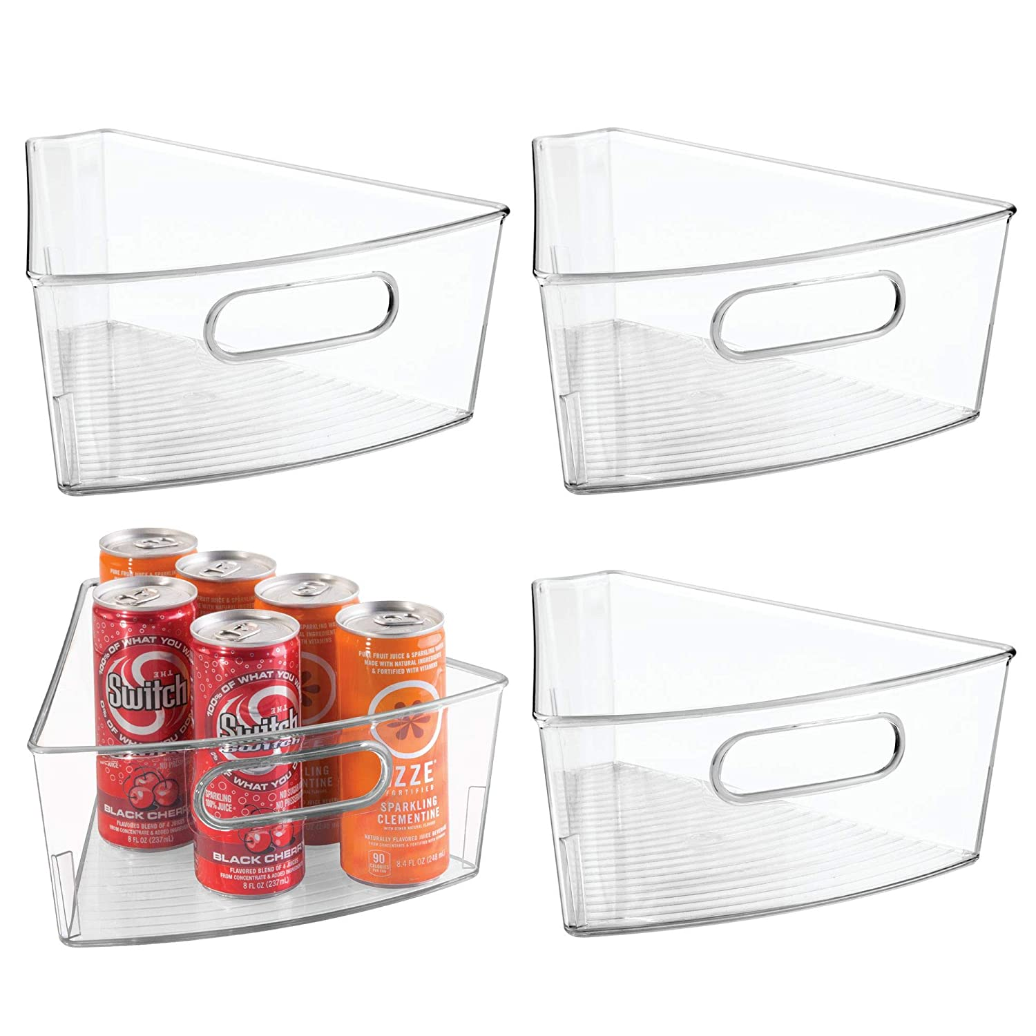 mDesign Lazy Susan Storage Bin with Handle for Kitchen Cabinets, Pantry - 1/8 Wedge, Pack of 2, Clear MetroDecor 4774MDK