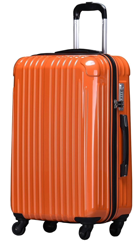 ラッキーパンダ スーツケース TY001 ハード 超軽量 TSAロック ファスナータイプ 機内持込 B01AA20PWA Mサイズ(4~6日の旅行向け)|オレンジ オレンジ Mサイズ(4~6日の旅行向け)