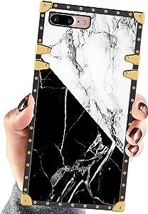Square Case Compatible iPhone 7 Plus iPhone 8 Plus Case White Black Marble Luxury Elegant Soft Shock Protection Case Cover Compatible iPhone 7 Plus/8 Plus 5.5 Inch