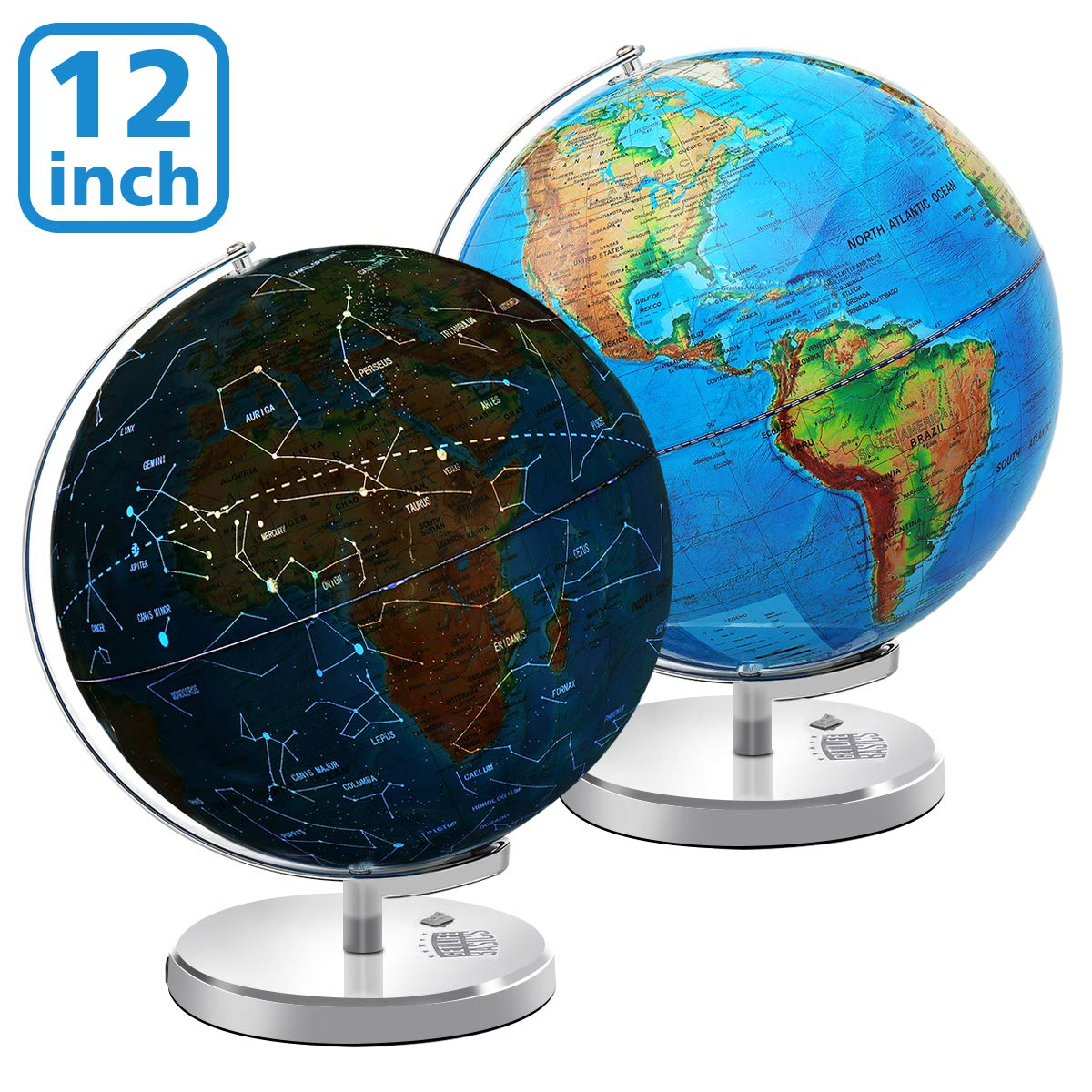 Illuminated Spinning World Globe for Kids, KingSo 12'' Diameter 3 in 1 World Globe dispiay Nightlight, Earth Globe with Heavy Duty Stand for for Kids|LED Night Light Lamp, Political Map and Constellati by KingSo