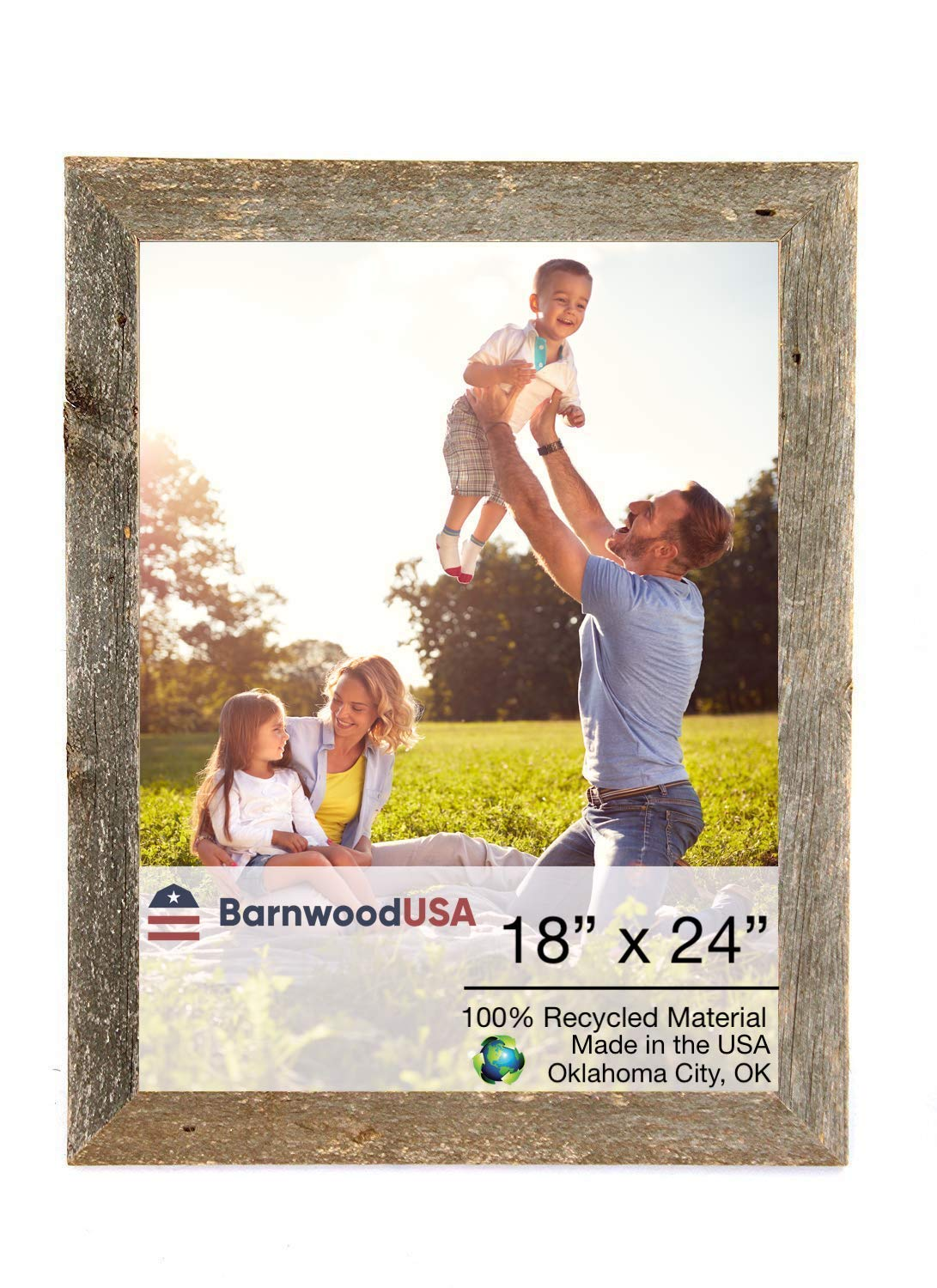 BarnwoodUSA | Farmhouse Picture Frame, 2'' inch Molding - 100% Up-cycled Reclaimed Wood (18x24, Weathered Gray)