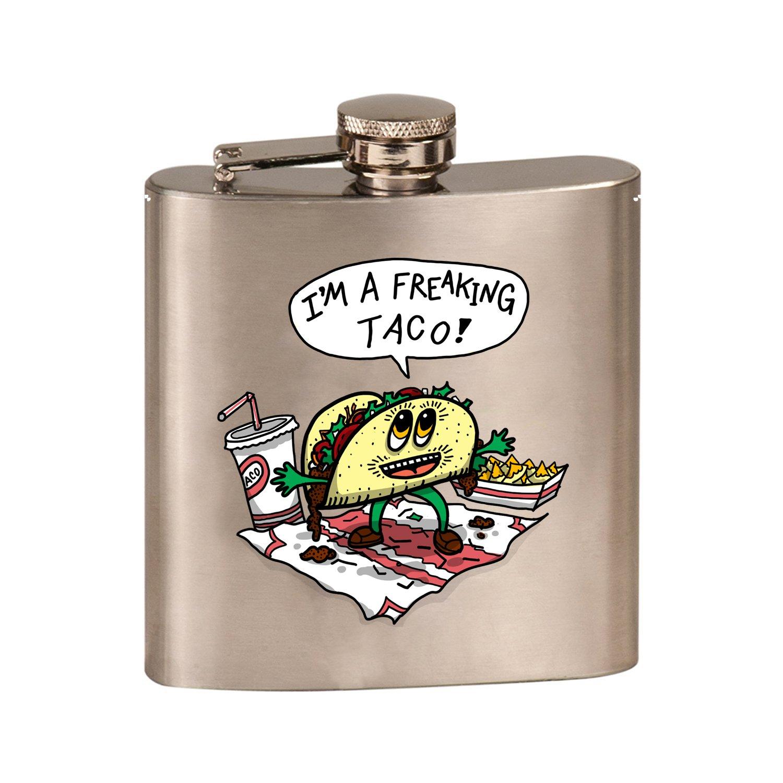 【期間限定特価】 Freakin Taco Funny Mexican Food Funny Mexican Cartoonユーモア B07DQT1GZQ – 3dカラープリント6オンスステンレス鋼フラスコ(スチールシルバー) B07DQT1GZQ, オオカワシ:2173d9fd --- a0267596.xsph.ru