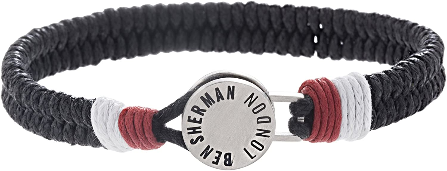 """Ben Sherman 7.5"""" Red, White, a and Black Woven Cord Disc Bracelet for Men in Stainless Steel"""