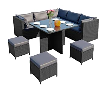 Fabulous Abreo Rattan Corner Garden Furniture Set Dining Cube Table Modular Footstool Ottomans Light Dark Cushions Black With Dark Cushions Download Free Architecture Designs Jebrpmadebymaigaardcom