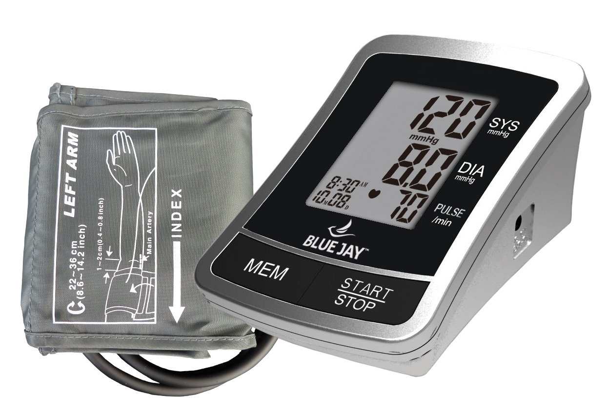 Blue Jay Perfect Measure Automatic Blood Pressure Monitor, One-Touch Function, LCD Display, 120 Memory Recall with Date and Time Stamp, Adult Arm Cuff, Health Monitors