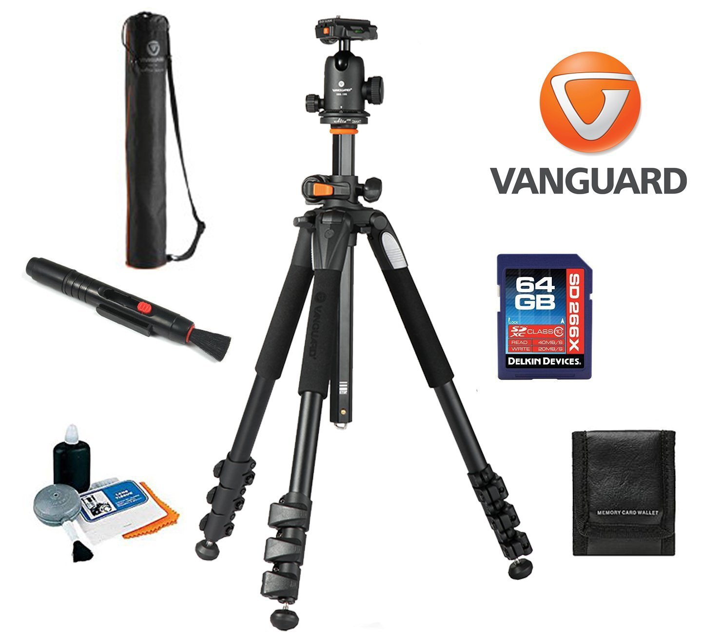 Vanguard Alta Pro 264AB 4-Section Aluminum Tripod with SBH-100 Ball Head + Vanguard Case, 64GB SDXC Card, Cleaning Kit, Lens Pen, Memory Card Wallet