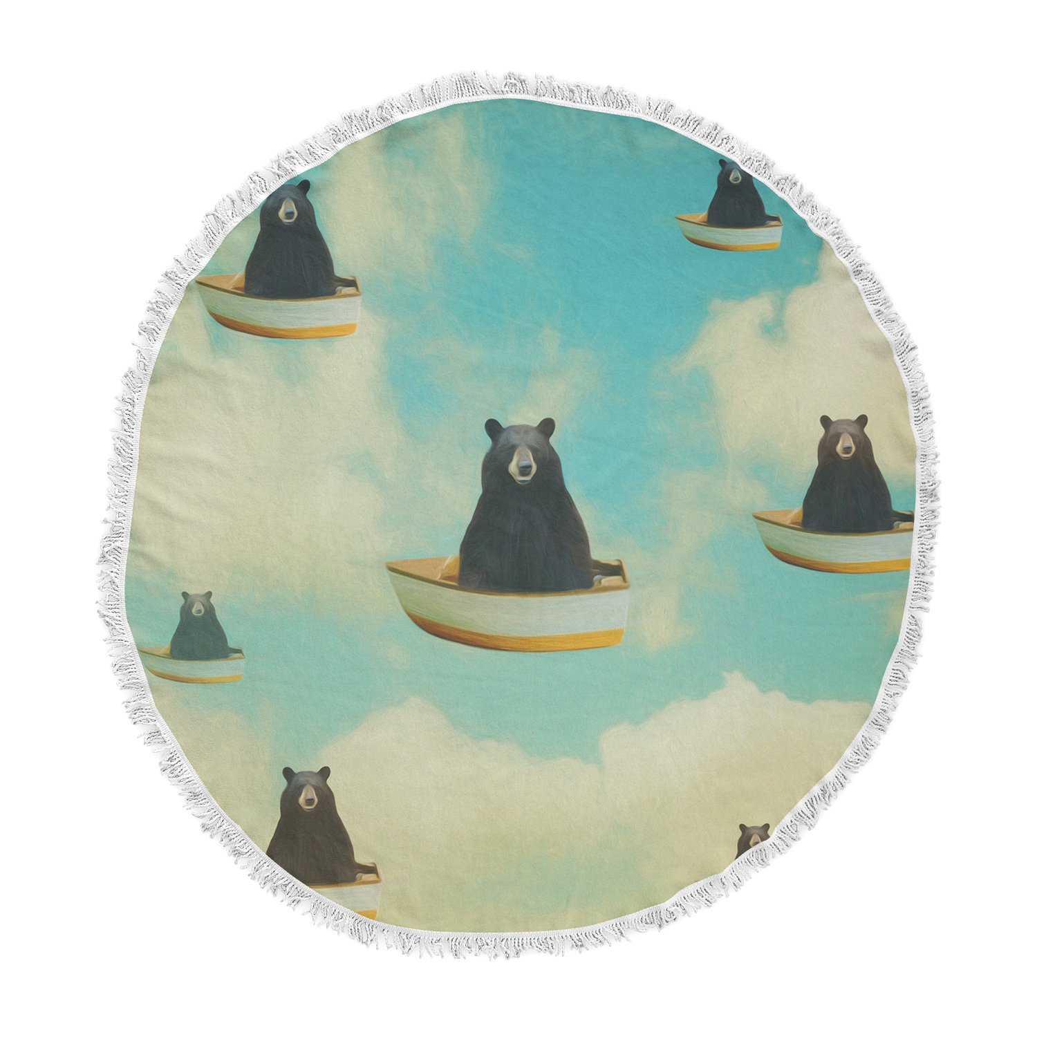 Kess InHouse Natt Bears Floating Animals Round Beach Towel Blanket