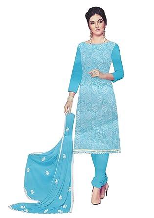 a25e715382 Amazon.com: White Beauty Cotton Lakhnavi Embroidery Salwar Kameez Womens  Indian Dress Ready to Wear Salwar Suit: Clothing