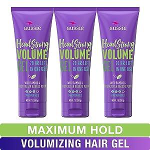 Aussie Hair Gel, with Bamboo & Kakadu Plum, Headstrong Volume, 7 fl oz, Triple Pack
