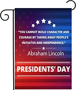 "ShineSnow Presidents Day Abraham Lincoln Inspirational Quote Garden Yard Flag 12""x 18"" Double Sided Polyester Welcome House Flag Banners for Patio Lawn Outdoor Home Decor"