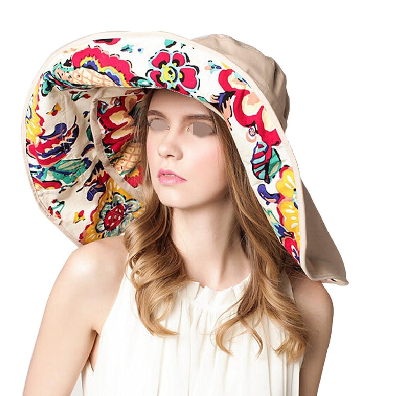 Eforstore Women Cotton Wide Brim Floppy Foldable Roll up Sun Hat Beach Cap