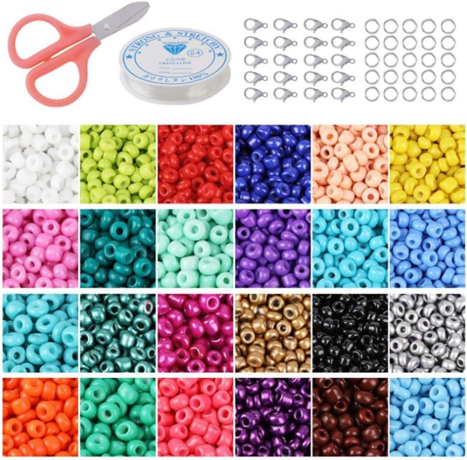 Cuentas de Colores para Los niños 24000 Piezas,2mm Mini Cuentas 24 Colores de Vidrio Perlas de Potro para Hacer Joyas Collares Pulseras Pendiente Bisutería Regalo DIY