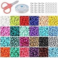 Cuentas de Colores para Los niños 24000 Piezas,3mm Mini Cuentas 24 Colores de Vidrio Perlas de Potro para Hacer Joyas…