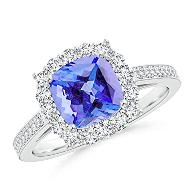 Angara Cocktail Ring with Cushion Tanzanite in Platinum f6TZhPkDg
