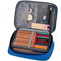 Estuche rígido para lápices, 72 compartimentos, práctico estuche de revestimiento múltiple, grande, con zíper, para lápices de color Prismacolor, bolígrafo de gel, bolígrafo de color, bolígrafos de acuarela, brocha cosmética y más