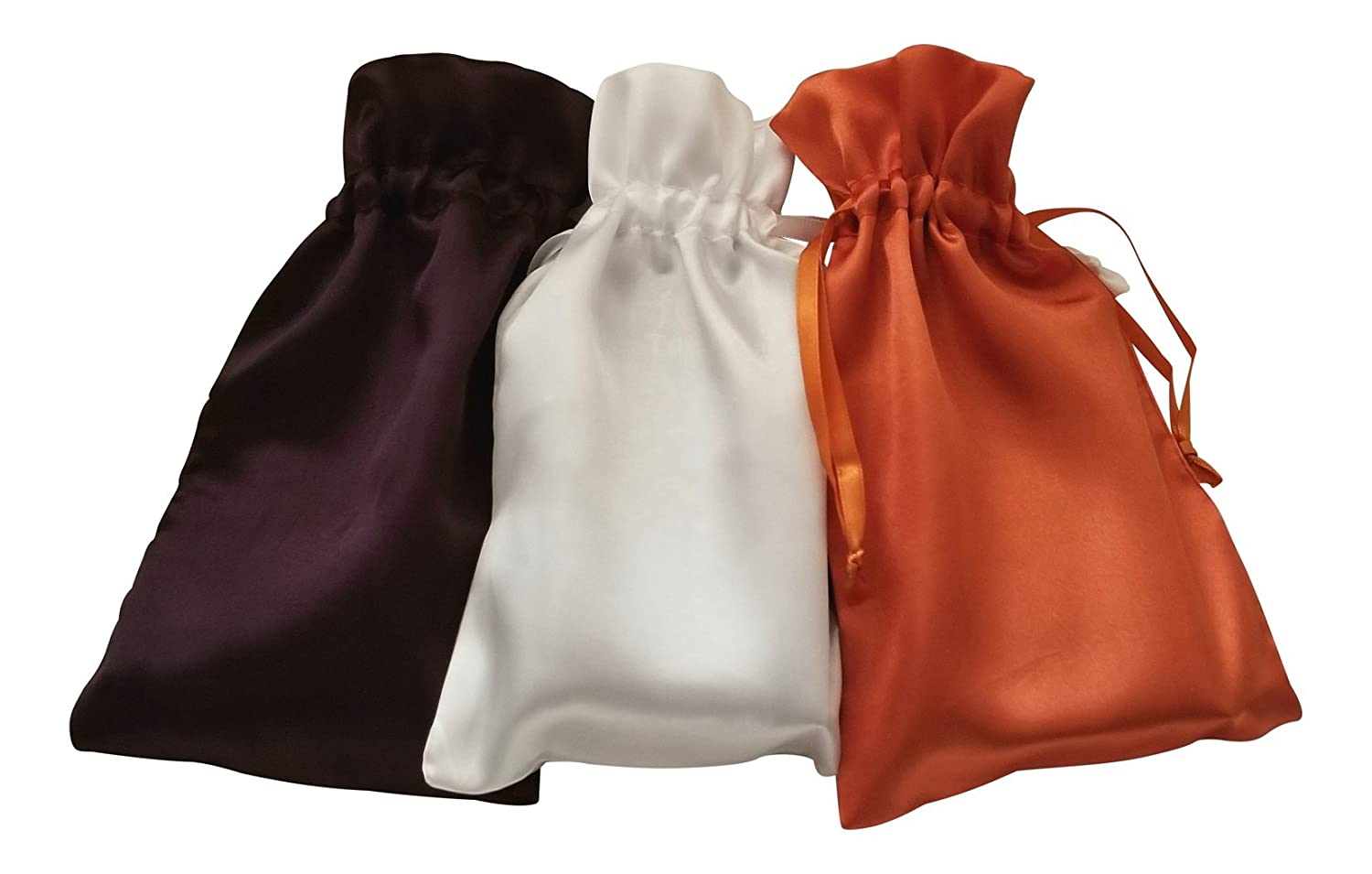 Paper Mart Tarot Bags: Halloween Colors Satin Bundle of 3: Purple White and Orange (5