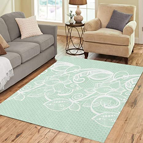 Semtomn Area Rug 3 X 5 White Lace On Mint Green Old Vintage Floral Butterfly Home Decor Collection Floor Rugs Carpet For Living Room Bedroom Dining Room Amazon Ca Home Kitchen