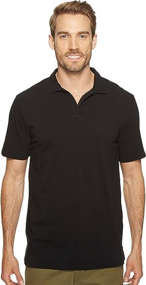 Mod-o-doc Men's Pescadero Short Sleeve Johnny Collar Polo Black Shirt