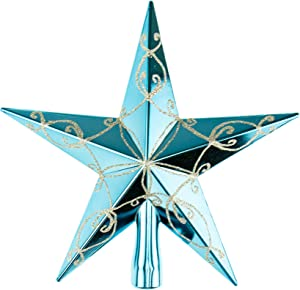 """Clever Creations Teal with Silver Glitter Star Tree Topper Festive Christmas Décor   Perfect Complement to Any Holiday Decoration   Shatter Resistant Sparkled Plastic   7.5"""" Tall"""