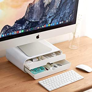 Monitor Stand Riser,Computer Desk Organizer with Drawer Keyboard Storage Multi-Media Laptop Printer TV Screen for Home Office Business Platform,PC,Laptop,iMac Monitor Stand