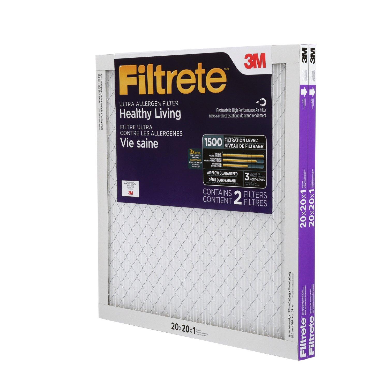 AC Furnace Air Filter MPR 1500 2-Pack Healthy Living Ultra Allergen Filtrete 14x24x1