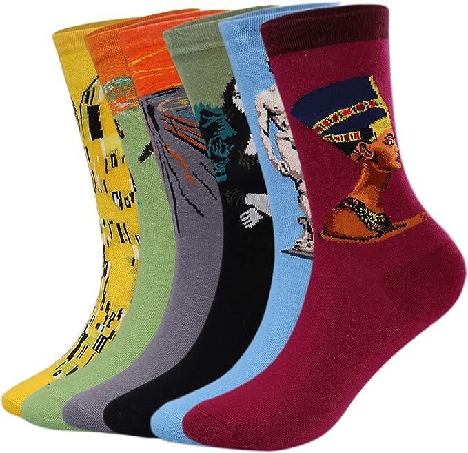 Aibrou Calcetines Mujer/Hombre Ocasionales Divertidos Impresos de Algodón de Pintura Famosa de Arte Calcetines Pack 4/6 (Multicolor-2-Pack 6*, talla única): Amazon.es: Ropa y accesorios