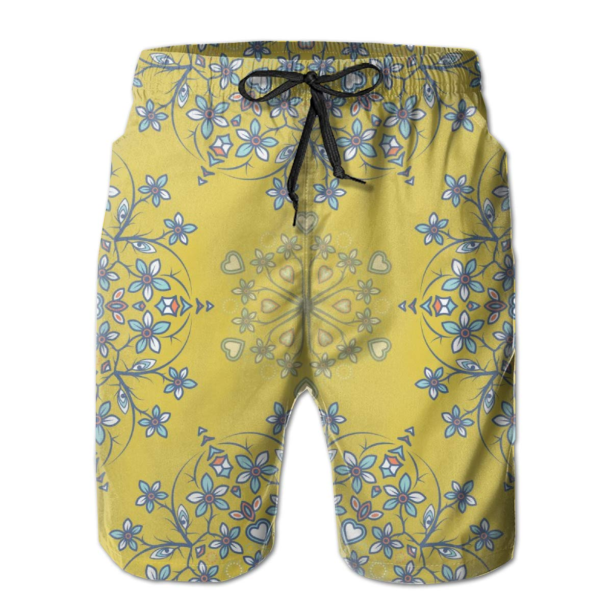 FASUWAVE Mens Swim Trunks Flowers Yellow Quick Dry Beach Board Shorts with Mesh Lining