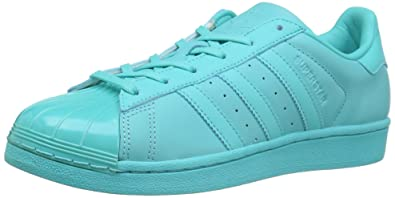 adidas Originals Women's Shoes | Superstar Glossy Toe Fashion Sneakers, Easy Mint Black, (